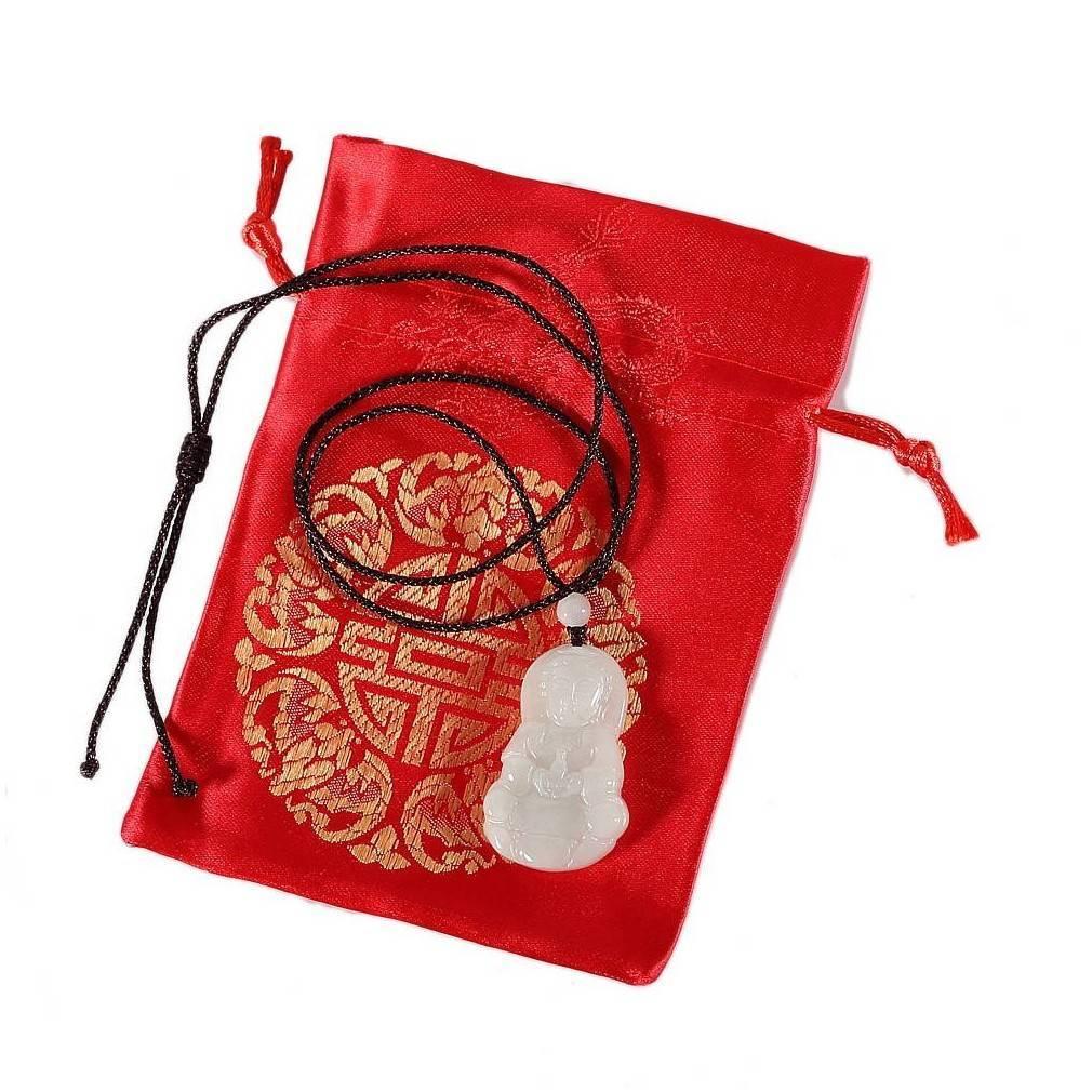Collier en Jade, déesse GuanYin, porte-bonheur bouddhiste et asiatique