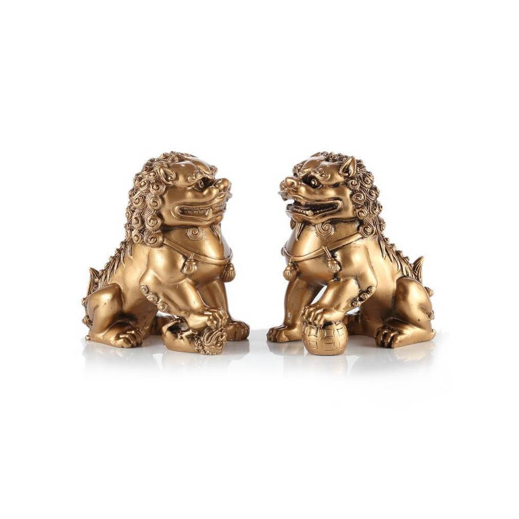 Paire de lions gardiens impériaux Chiens Fu