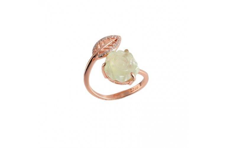BAGUE ROSE en PREHNITE et BRILLANTS