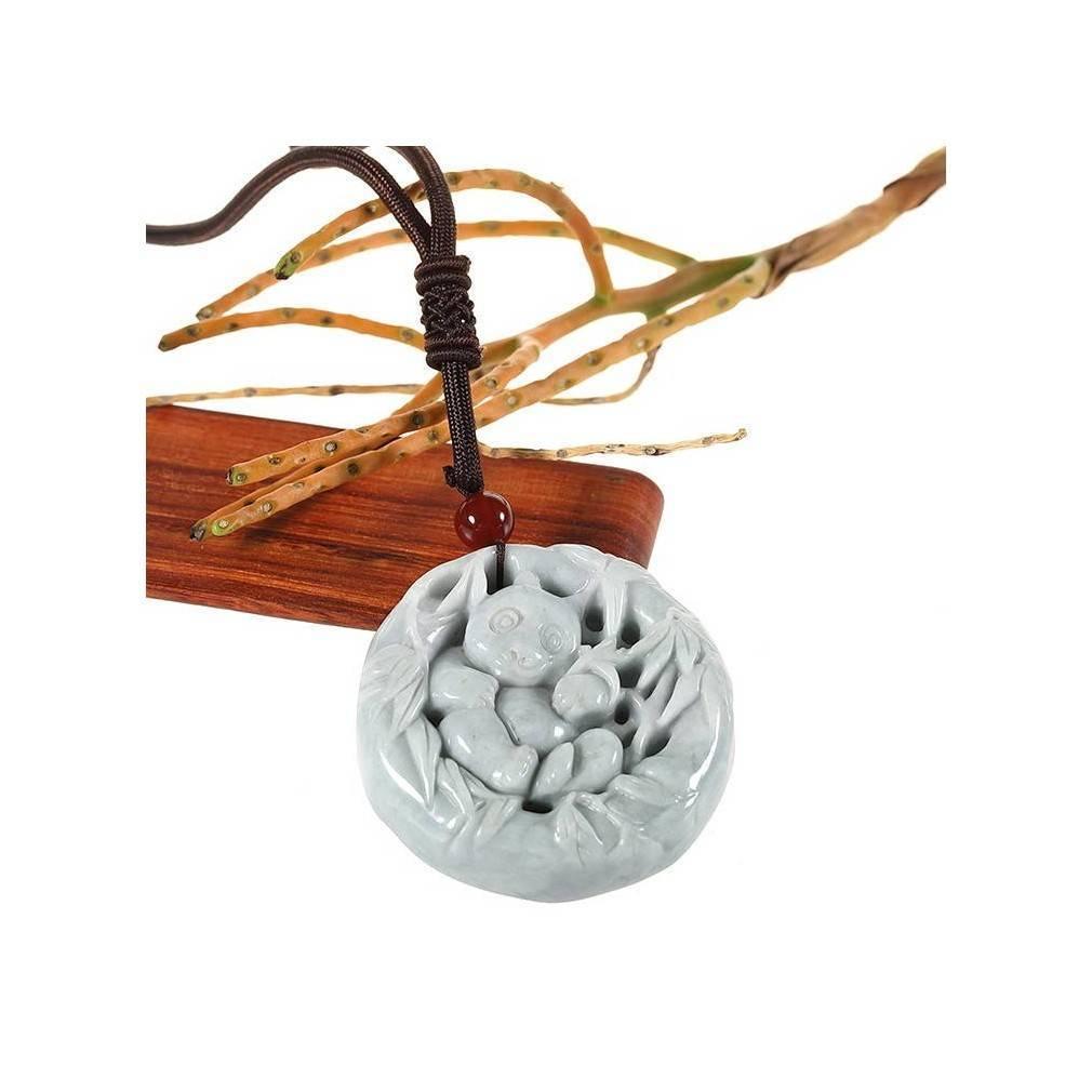 Médaillon panda gravé dans une pierre de Jade véritable certifiée, cordon traditionnel asiatique