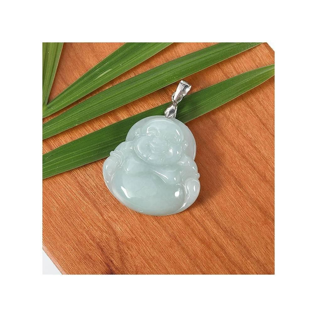 pendentif bouddha rieur, jade véritable, classe A, modèle unique