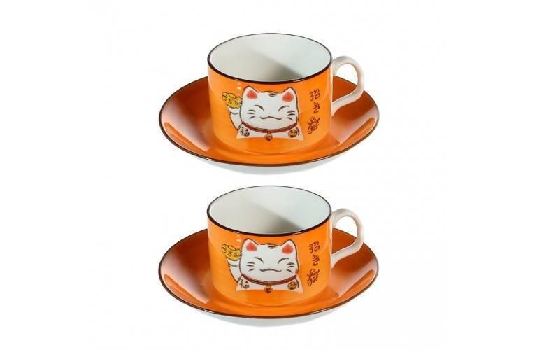 2 TASSES à CAFE MANEKI NEKO - ORANGE