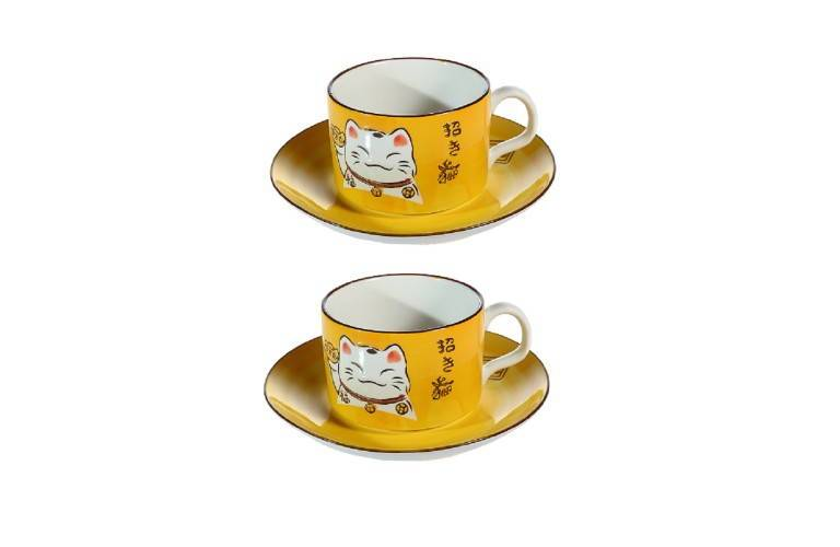 2 TASSES à CAFE MANEKI NEKO - JAUNE
