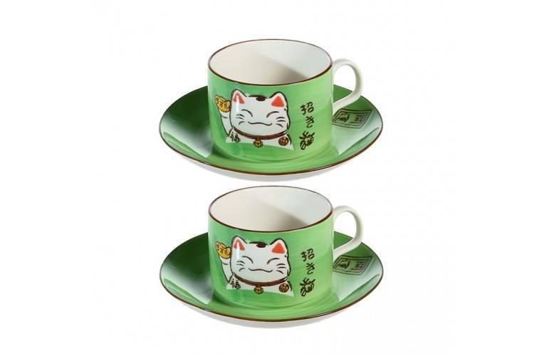 2 TASSES à CAFE MANEKI NEKO - VERTE