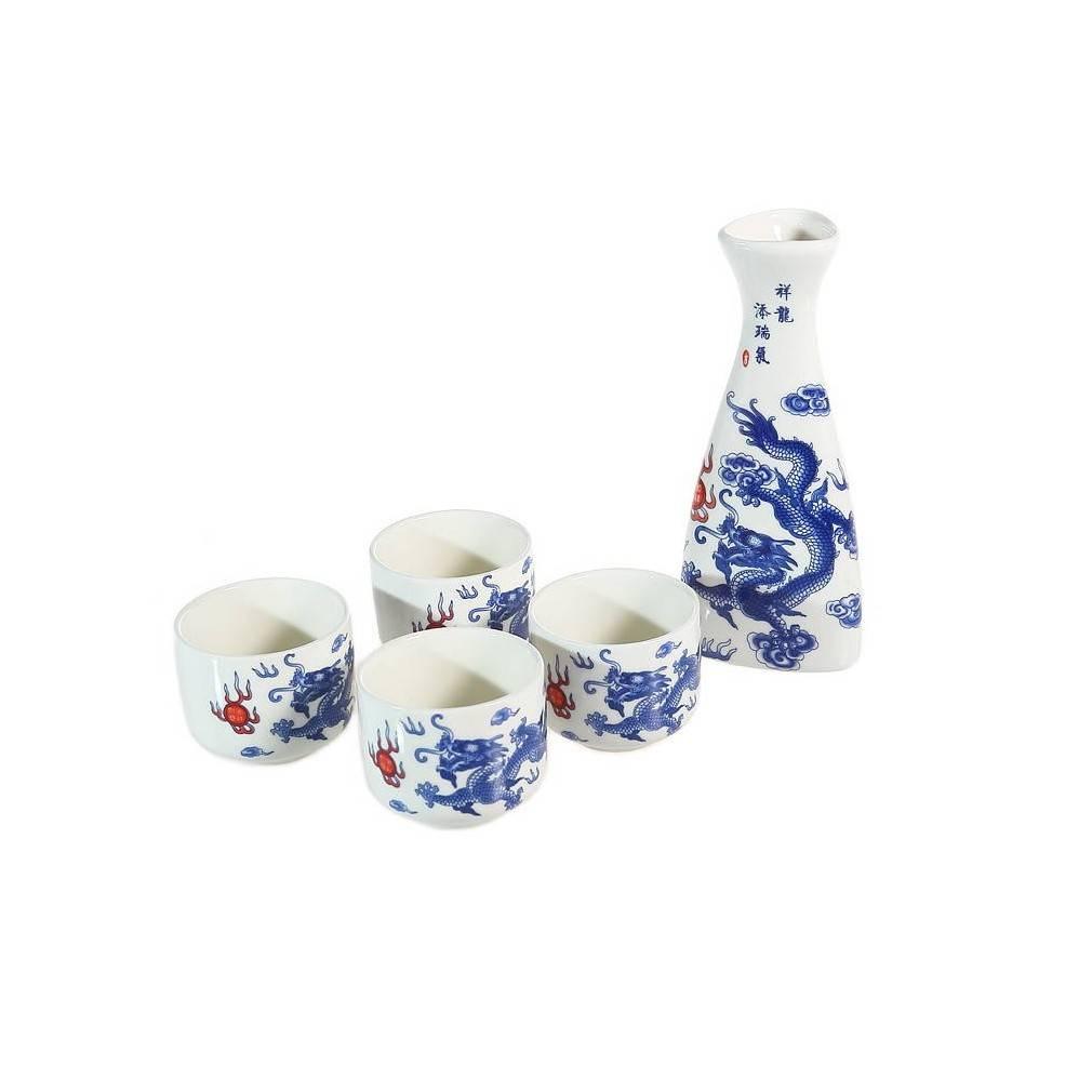 service saké asiatique, motif dragon impérial