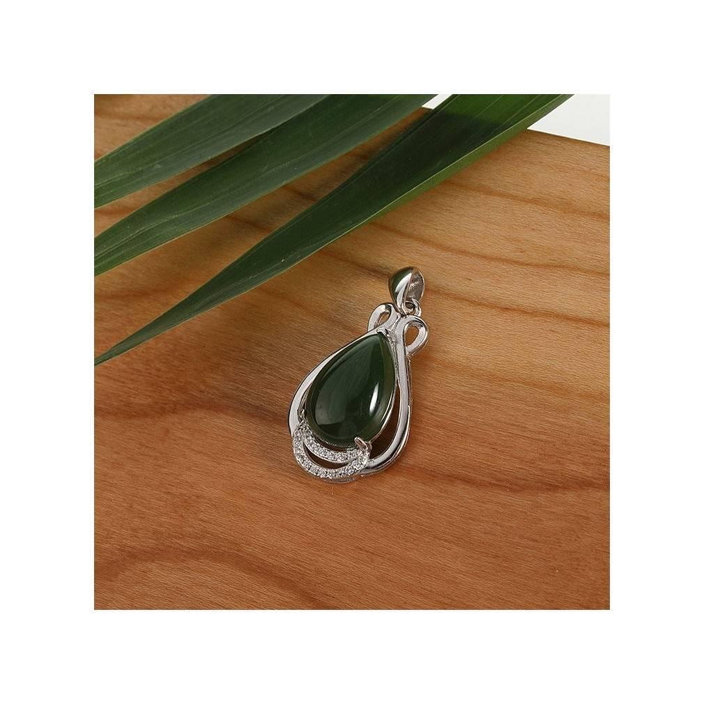 pendentif goutte jade vert certifié
