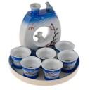 Service à Saké Asiatique Bleu