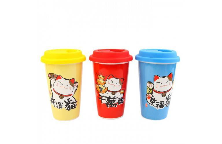 3 MUGS JAPONAIS Design MANEKI NEKO