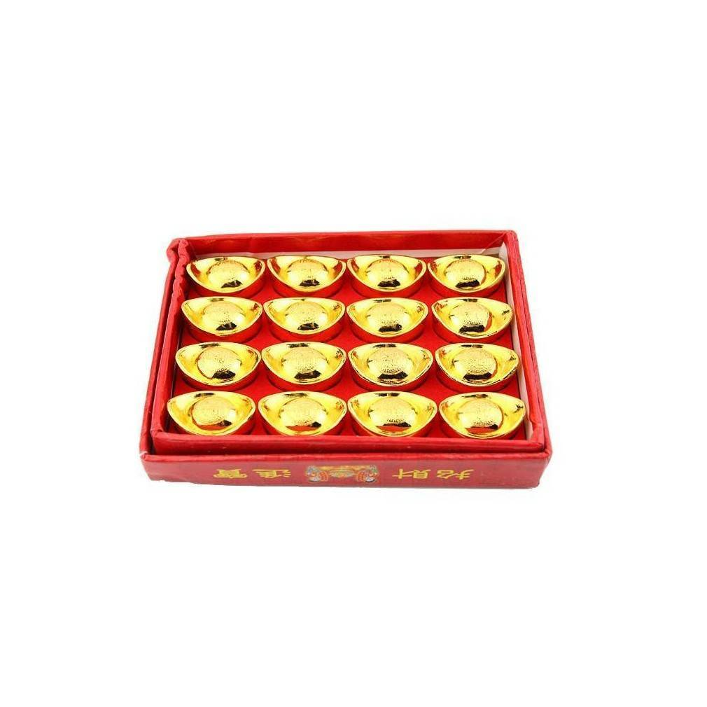 boite de 16 lingots chinois appel yuan bao et servant attirer la richesse et la fortune. Black Bedroom Furniture Sets. Home Design Ideas