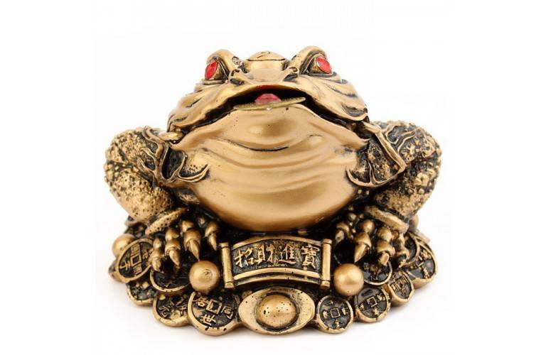 CRAPAUD FENG SHUI DORE GRANDE TAILLE
