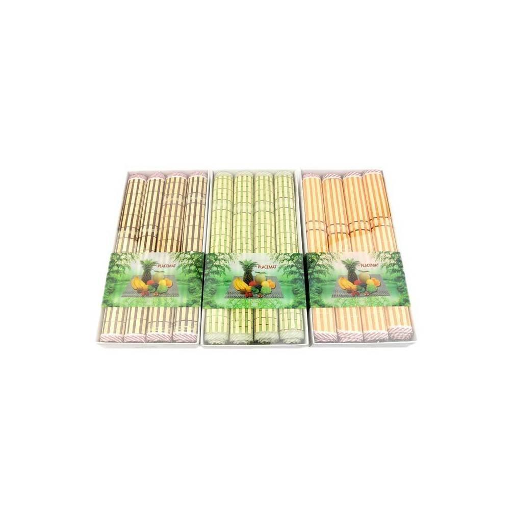 s rie de 4 sets de table asiatique mati re bambou teinte orange. Black Bedroom Furniture Sets. Home Design Ideas