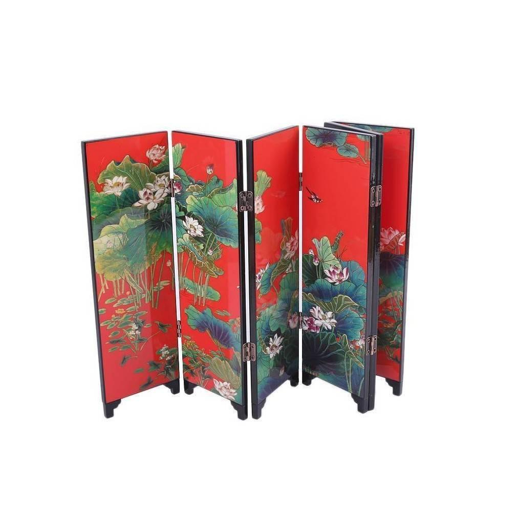Paravent miniature d coration asiatique motifs fleurs de - Decoration asiatique ...
