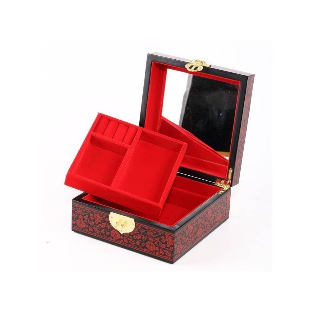 boite bijoux mod le fortune bois laqu et miroir ebay. Black Bedroom Furniture Sets. Home Design Ideas