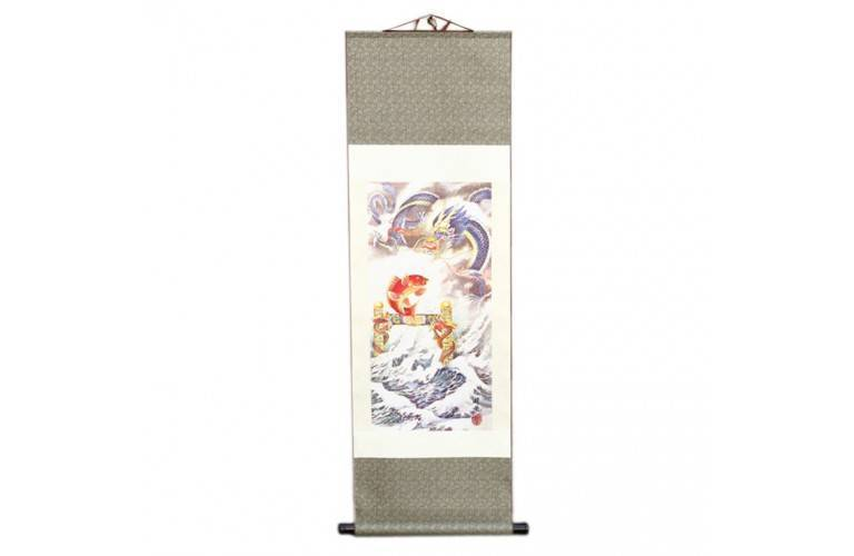 PEINTURE TRADITIONNELLE CHINOISE - Carpe sautant la porte du Dragon