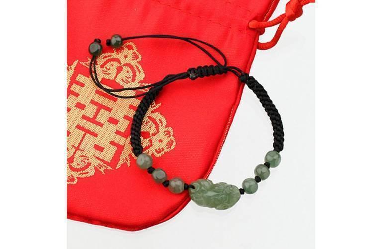 BRACELET NOIR - PIXIU en Jade Vert