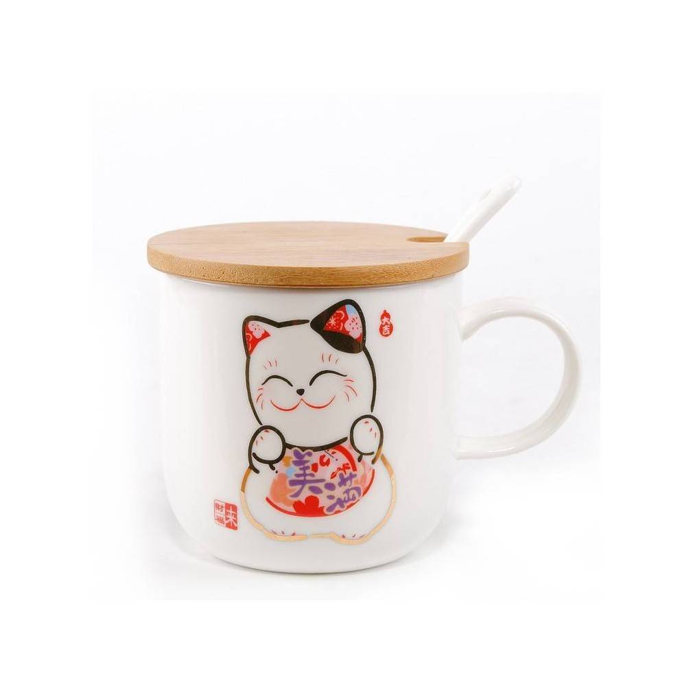 tasse design japonais maneki neko cuill re en porcelaine. Black Bedroom Furniture Sets. Home Design Ideas