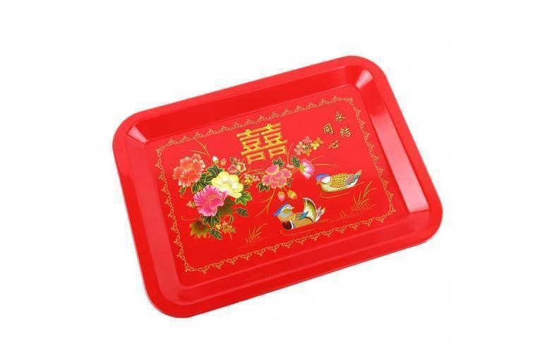 plateau de service chinois motifs canards mandarins et pivoines. Black Bedroom Furniture Sets. Home Design Ideas