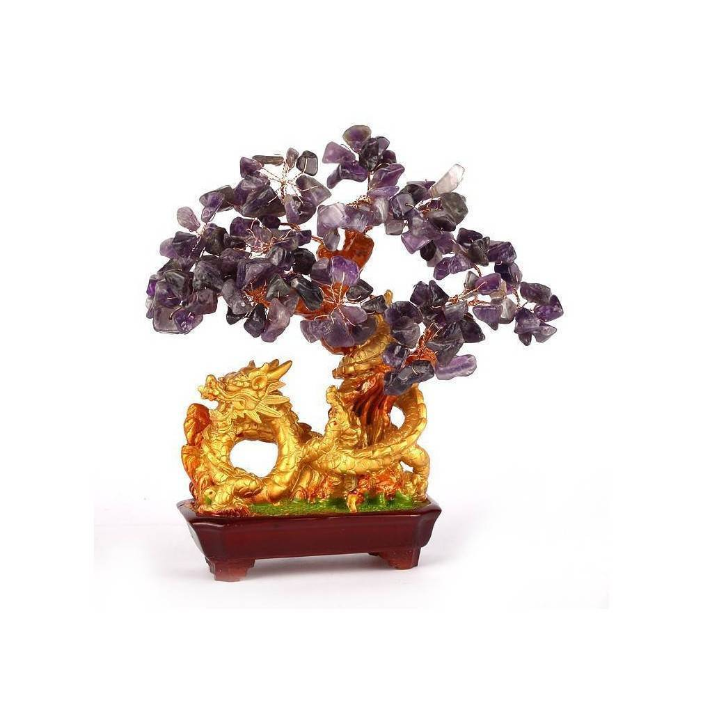 objet de d coration asiatique feng shui arbre dragon en am thyste. Black Bedroom Furniture Sets. Home Design Ideas