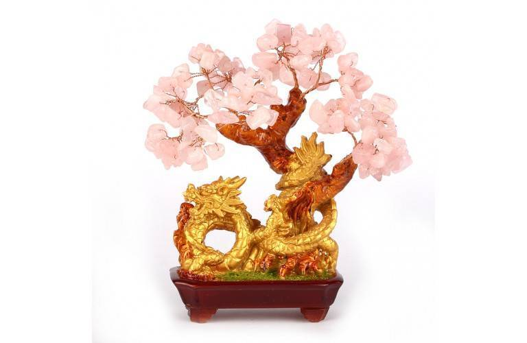 ARBRE DRAGON FENG SHUI EN QUARTZ ROSE