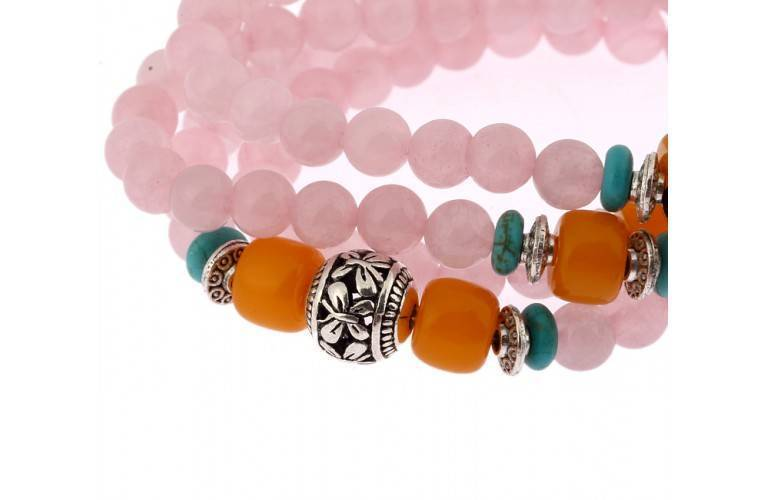 MALA BOUDDHISTE en QUARTZ ROSE