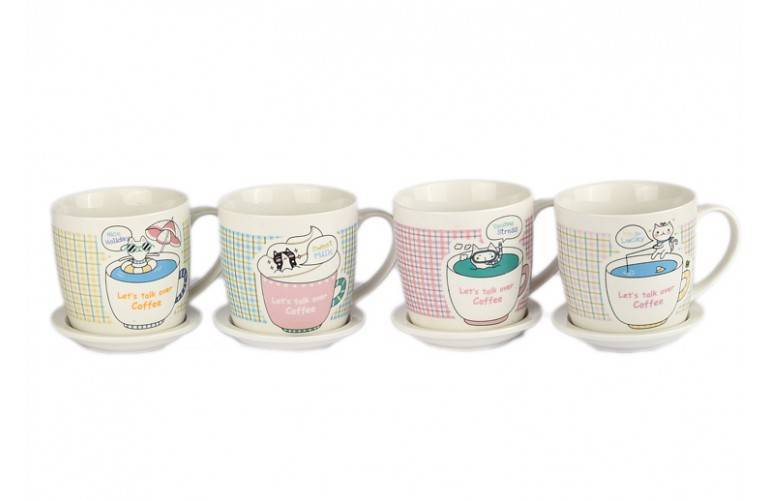"Lot de 4 tasses Collection ""Let's talk over coffee"""