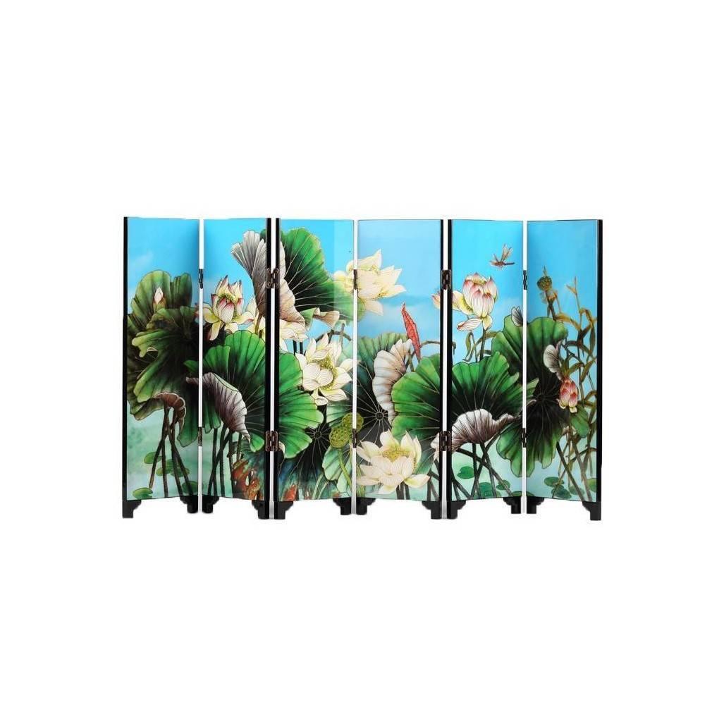 paravent asiatique miniature d coration fleur de lotus et canards mandarins ebay. Black Bedroom Furniture Sets. Home Design Ideas
