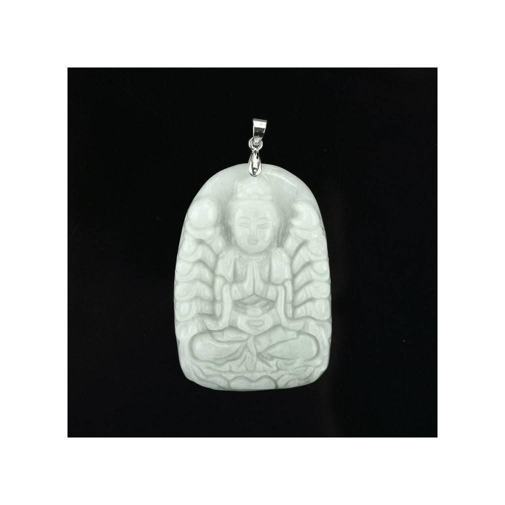 collier pendentif divinité hindoue, jade véritable, classe A, modèle unique