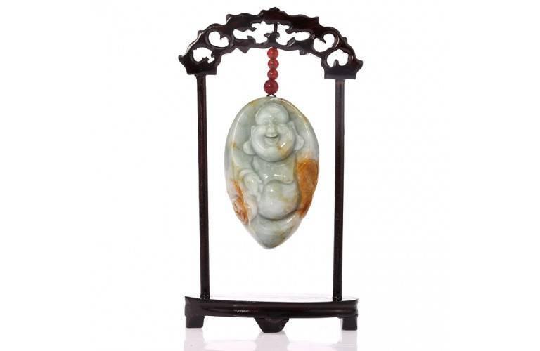 SCULPTURE SUR JADE - Bouddha Rieur