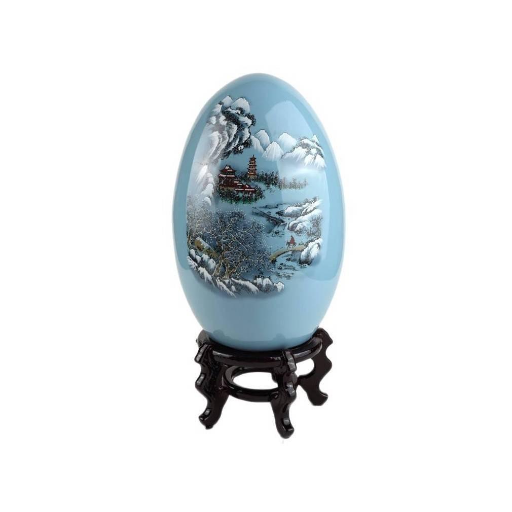 Oeuf decoratif chinois en porcelaine bleue et motif for Decoration asiatique