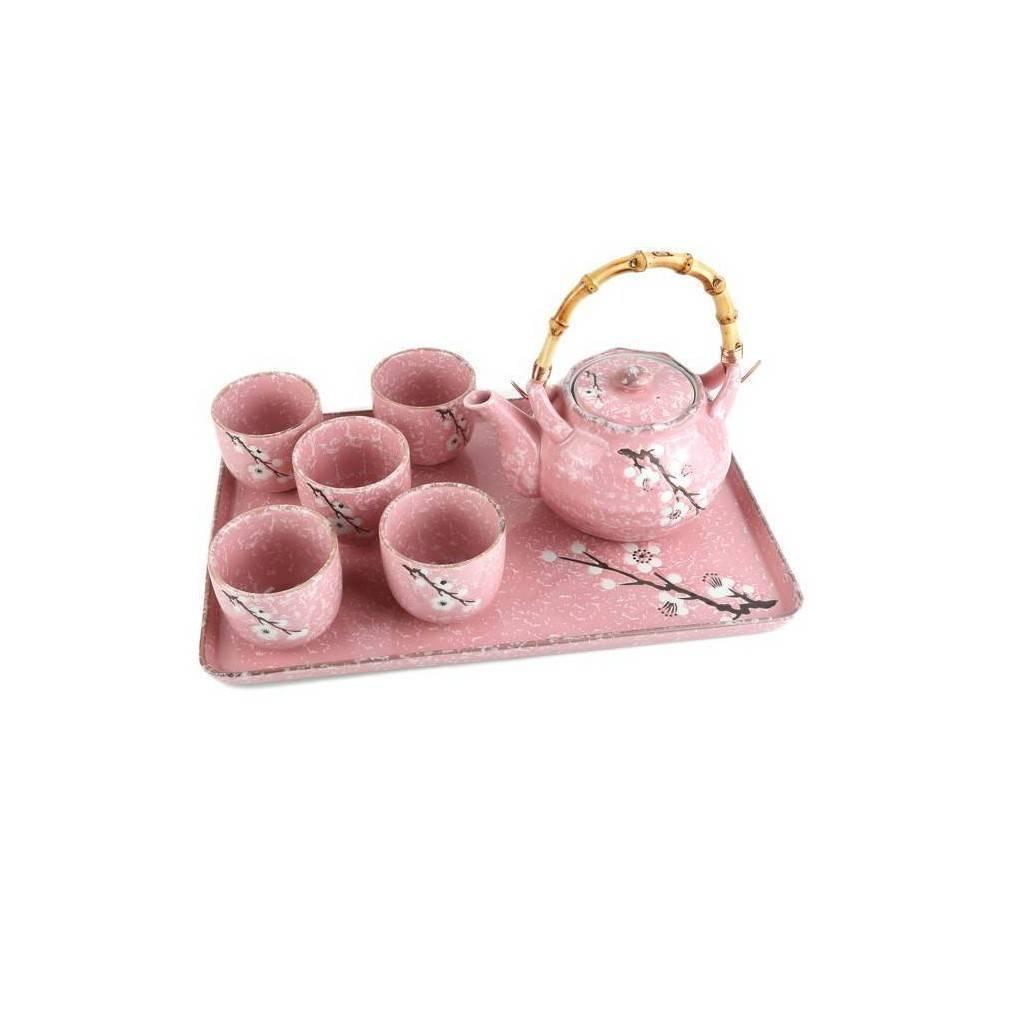 service the japonais sur plateau fleurs de cerisiers ebay. Black Bedroom Furniture Sets. Home Design Ideas