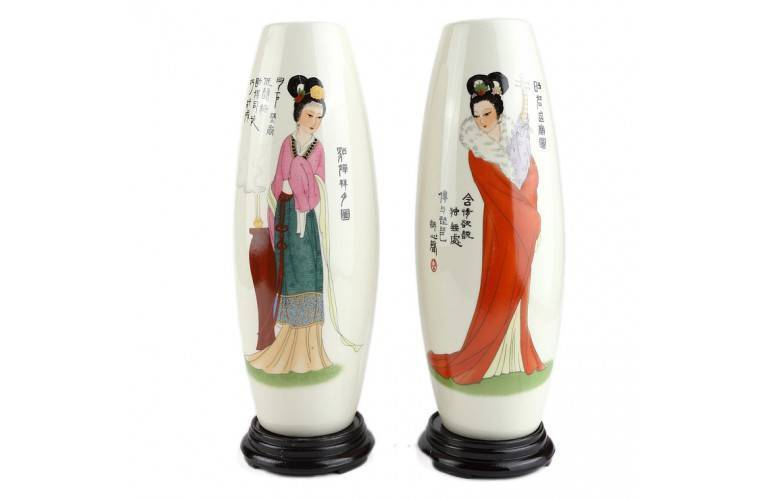 2 VASES Courtisanes Chinoises