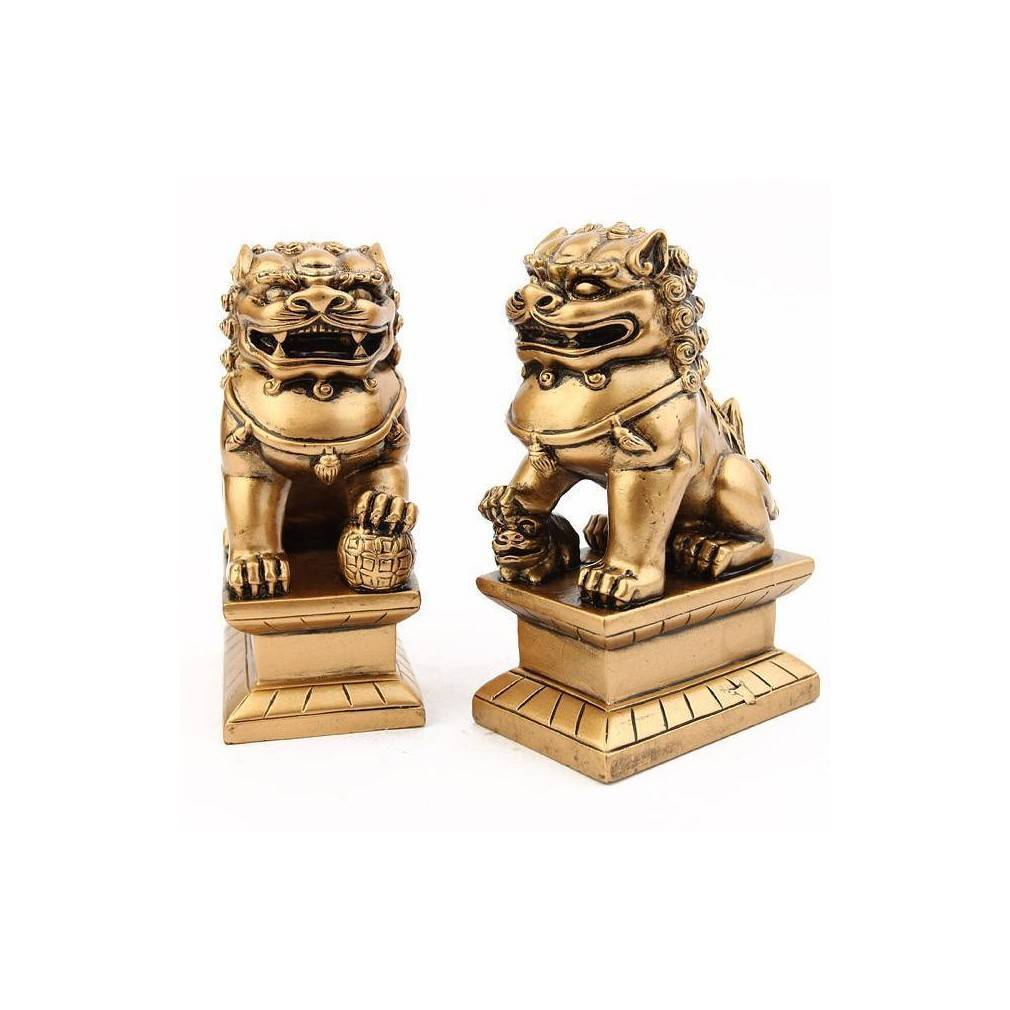 Bouddha Rieur Signification Position paire chiens fu (ou lions chinois)