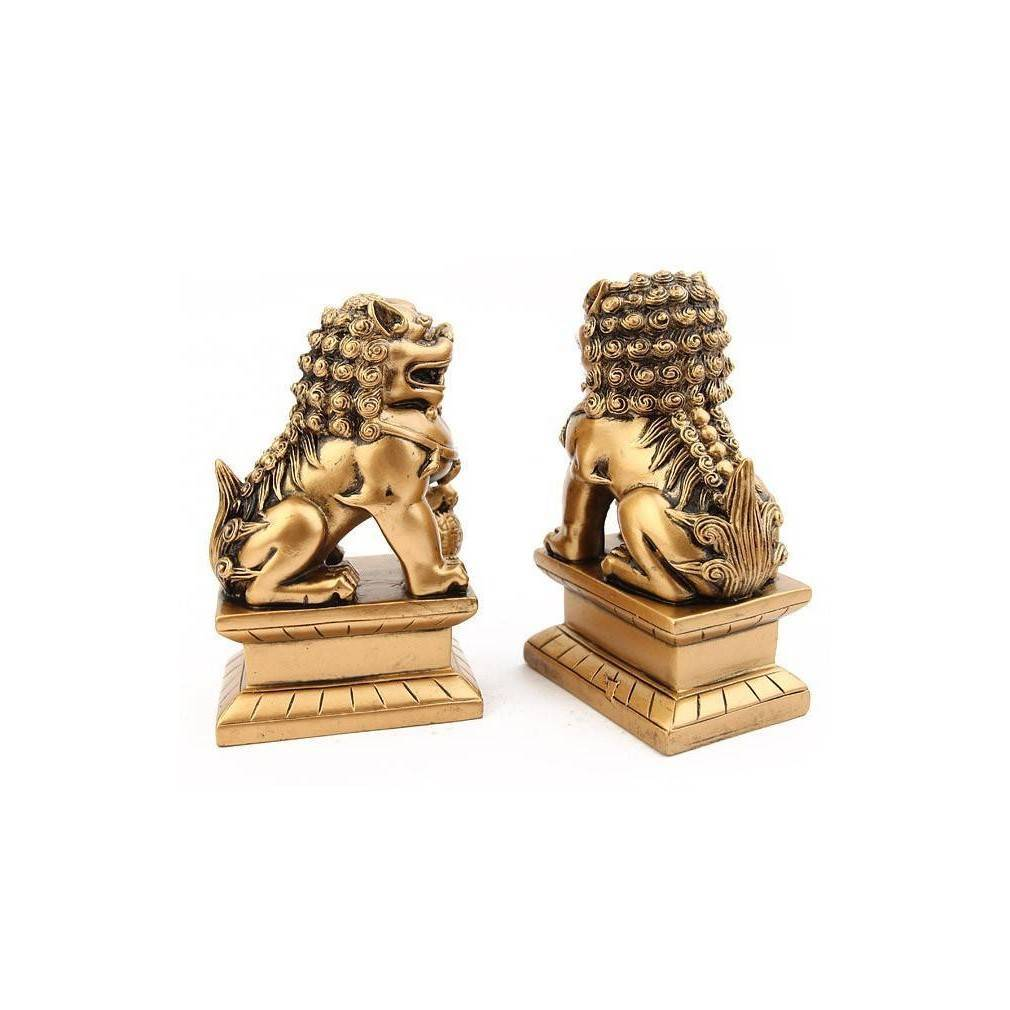 paire de chiens fu ou lions chinois symbole feng shui de protection. Black Bedroom Furniture Sets. Home Design Ideas