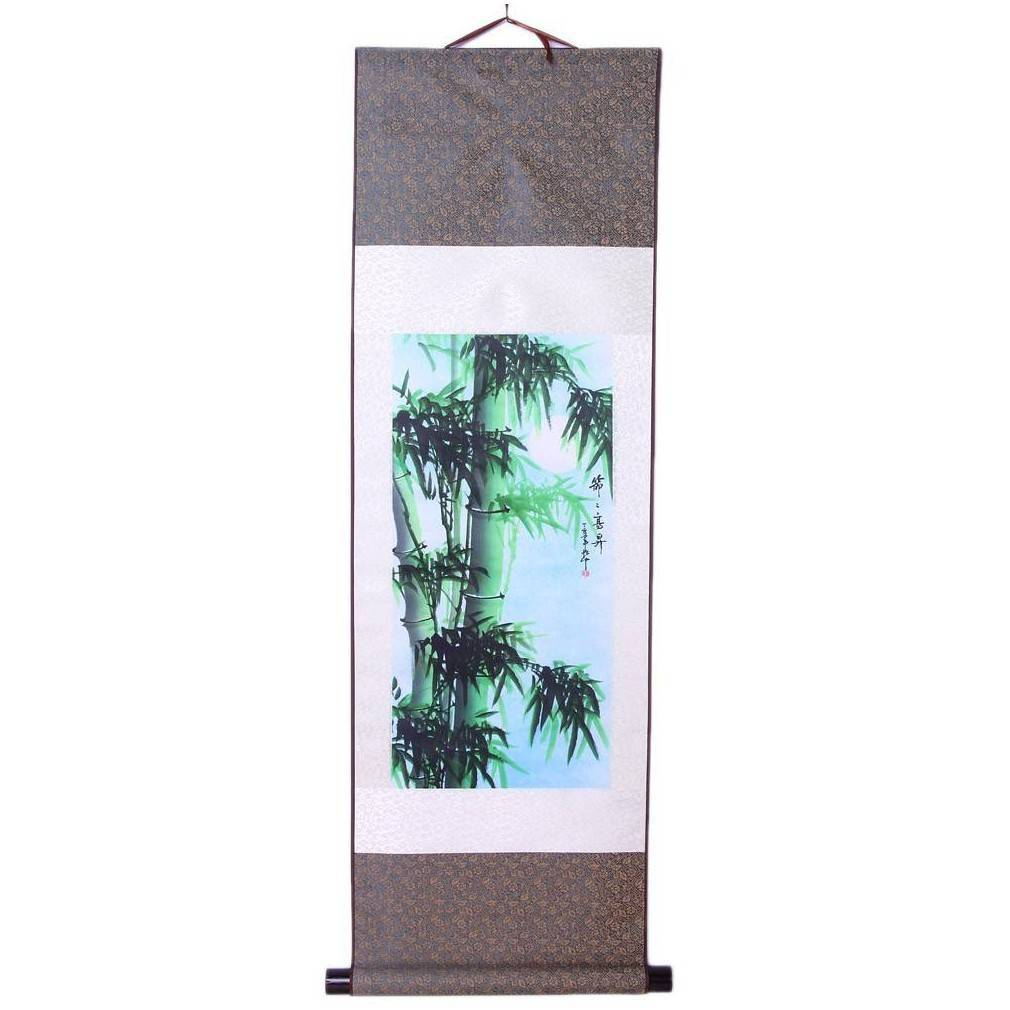 kakemono asiatique bambou impression sur soie