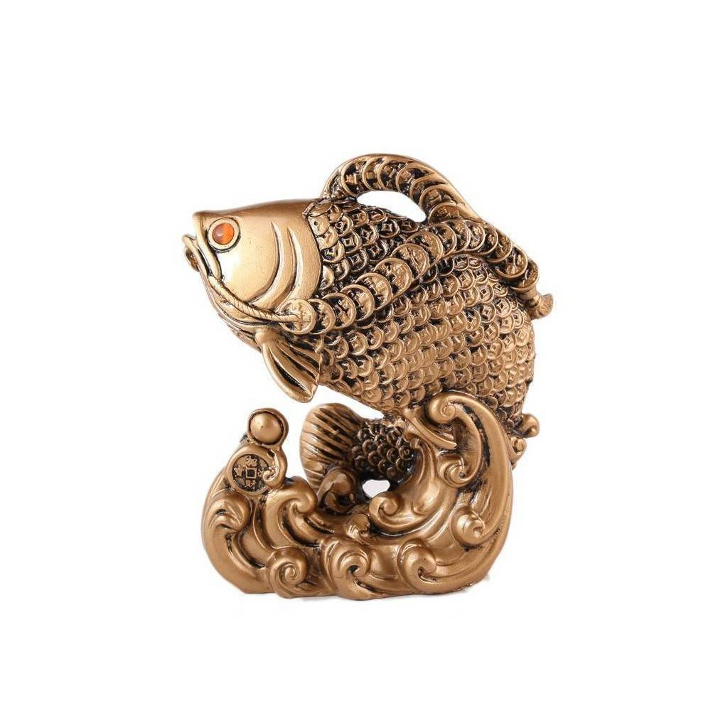 statuette repr sentant le c l bre poisson feng shui arowana symbole de grande richesse et de chance. Black Bedroom Furniture Sets. Home Design Ideas