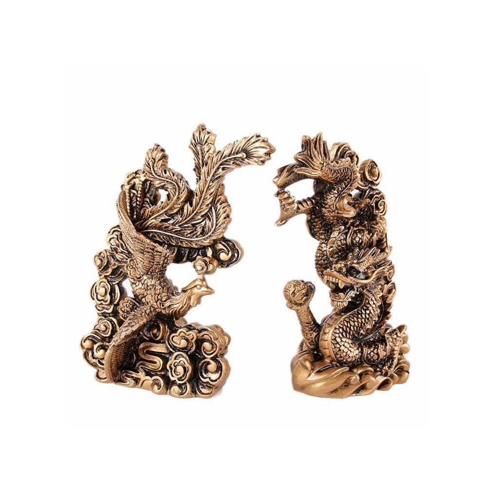 Statuettes couple dragon-phénix Feng Shui, symbole de l'amour et de l'union heureuse