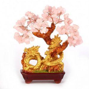 Arbre de vie Feng Shui support dragon pierre de quartz rose amour et fortune