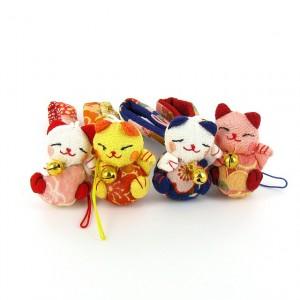 Bijoux de sac ou portable Maneki Neko chat Japonais porte-bonheur 7 coloris au choix