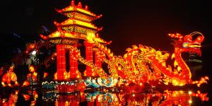 Dragon et lumières pour préparer Noël en Chine 2018