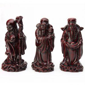 figurines dieux chinois Fuk Luk Sau symbole de chance Feng Shui