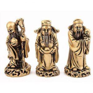 Statuettes Fuxing Shouxing Luxing dieux chinois bonheur protecteurs